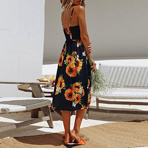 Color Spaghetti Swing Strap longuette tasche con Sunflower Abito Button donna da Bohemian 27 floreale Blue Estate Abiti Deep Down p4qwxC