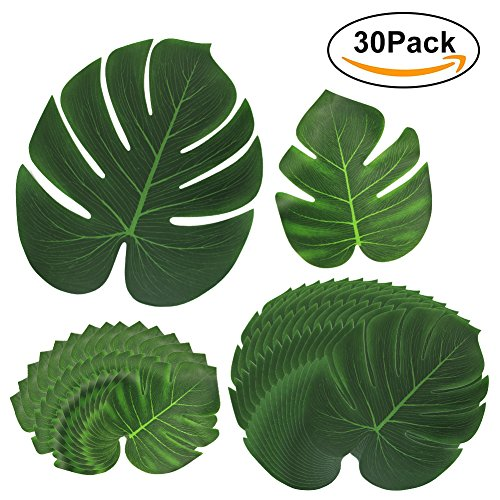 Tropical Palm Leaves,Canika 30Pcs Tropical Palm Leaves Table Mats Hawaiian Luau Party,Hawaiian Jungle Beach Party Decorations Summer Flowers by Canika