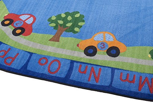 ECR4Kids School Classroom Learning Carpet, All Around Cars Educational Alphabet Rug for Children, Oval, 9 x 12-Feet by ECR4Kids (Image #3)