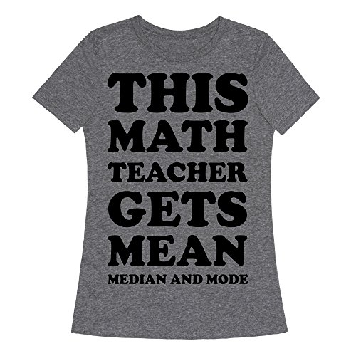 Lookhuman This Math Teacher Gets Mean Median And Mode Heathered Gray 2X Womens Fitted Triblend Tee