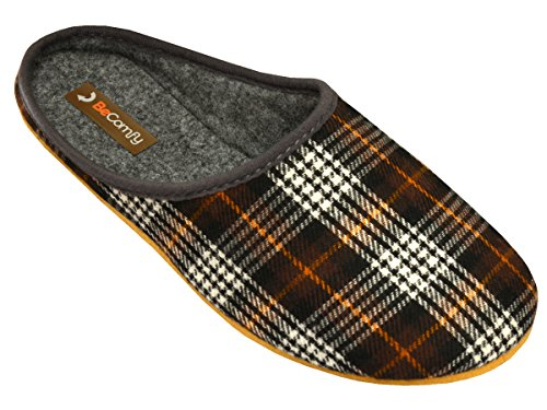 BeComfy - Zapatillas de estar por casa de Fieltro para hombre Braun-Box