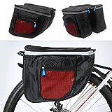 Yosoo Waterproof Bicycle Seat Bag, Multifunctional Cycling Double Sides Pannier Bag Rack Back Rear Bicycle Tail Bag Tube Frame Bike Bag Carrier Trunk (red)