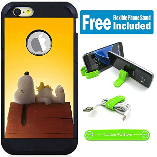 (Apple iPod Touch 5/6 5th/6th Generation Hybrid Armor Defender Case Cover with Flexible Phone Stand - Snoopy Sleeping)