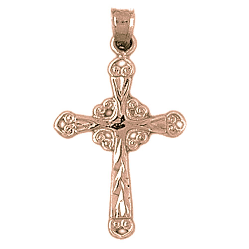 Jewels Obsession Silver Crucifix Necklace Rhodium-plated 925 Silver Glory Budded Crucifix Pendant with 18 Necklace