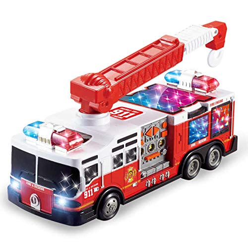 - JOYIN Light Up Electric Fire Truck Fire Engine Rescue Truck Toy with Stunning 3D Lights and Sirens Automatic Run Around and Change Directions on Contact
