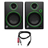 Mackie CR Series 3' Creative Reference Multimedia Monitors (Pair) (CR3) with Monoprice 1/8' TRS Male to Two 1/4' TS Male Cable, 3 Feet