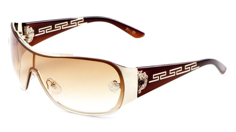 Kleo Greek Key Slim Shield Wrap Around Sunglasses (Brown & Gold Frame, Brown Gradient)