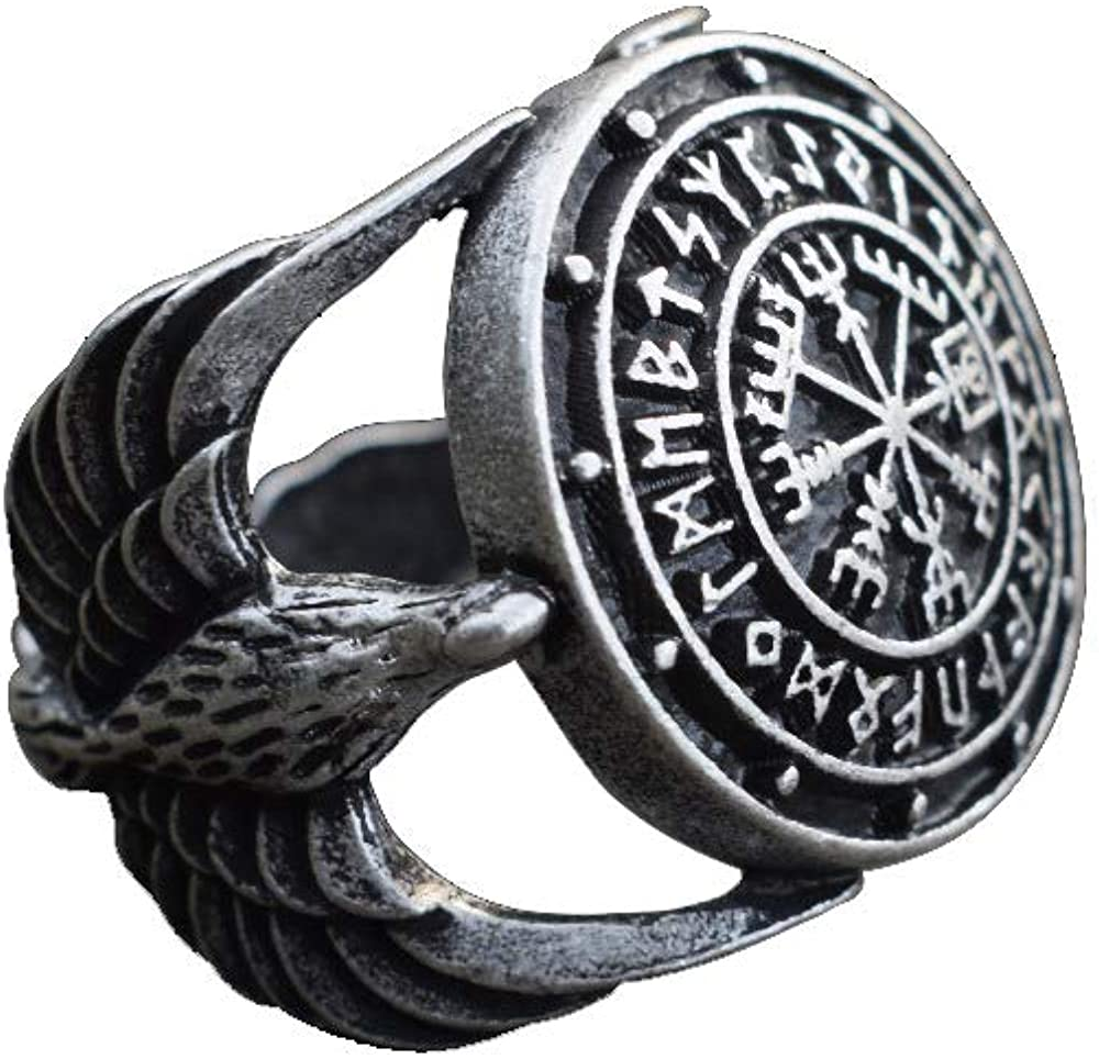 SanLan Triskele Vegvisir Ring Norse Viking Ring Magic Compass Viking Jewel Iceland Runic Compass Futhark Runes Stave Nordic