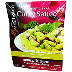 Green Curry Sauce with Aubergines and Mushrooms, Authentic Thai By My Choice Brand. (200 G/ Pack)