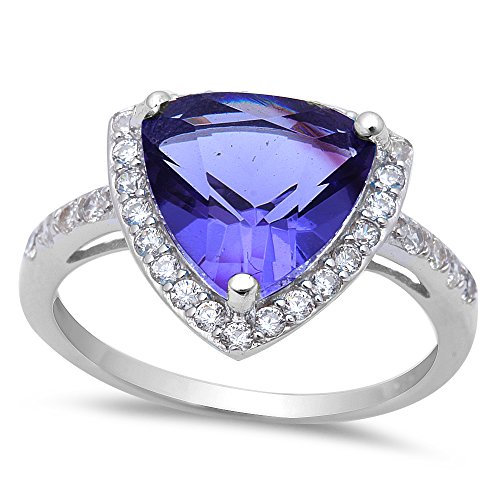 Silver Trillion Ring (5.50ct Trillion Cut Tanzanite & Cz .925 Sterling Silver Ring Sizes 5-9 (8))
