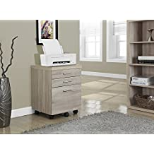 Monarch Specialties Natural Reclaimed-Look 3 Drawer File Cabinet on Castors