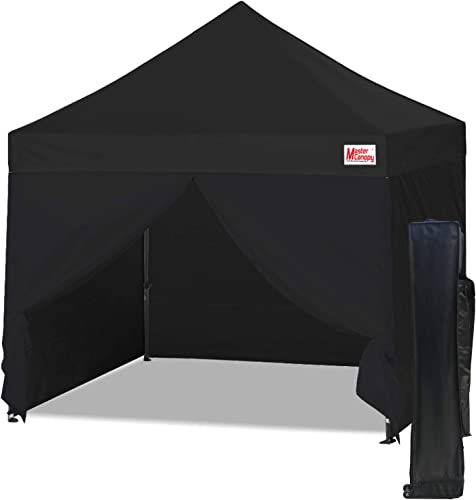 MASTERCANOPY Ez Pop-up Canopy Tent 10×10 Commercial Instant Canopies with 4 Removable Side Walls and Roller Bag, Bonus 4 SandBags 10×10 Feet, Black