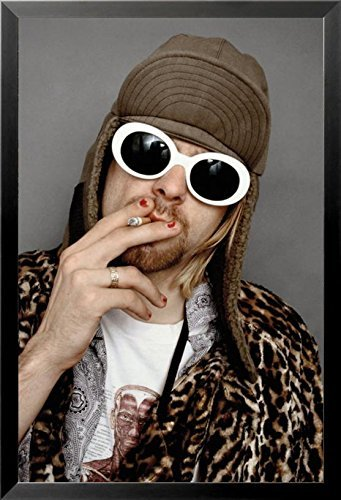 FRAMED Kurt Cobain Color Smoking with Sunglasses 36x24 Photograph Music Art Print - Cobain Kurt Amazon Glasses