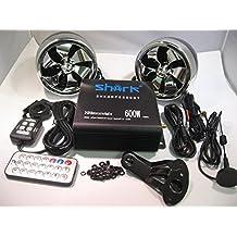 Shark Shkamp5800btmx6800 600 Watt Bluetooth Motorcycle Marine Audio System w/ 3.5 Speakers + Wired / Wireless Remote+antenna Mixed Speakers Black Amp