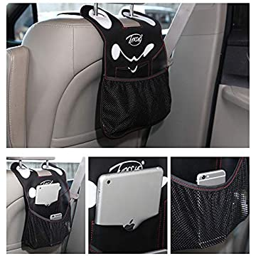 Car Backseat Organizer Kick Mat SUV Car Seat Back Protectors Holder with Storage Pockets, Great Travel Accessories Baby Kids Toddlers Toys Bottle Drink Vehicles (PU-1 Pack)