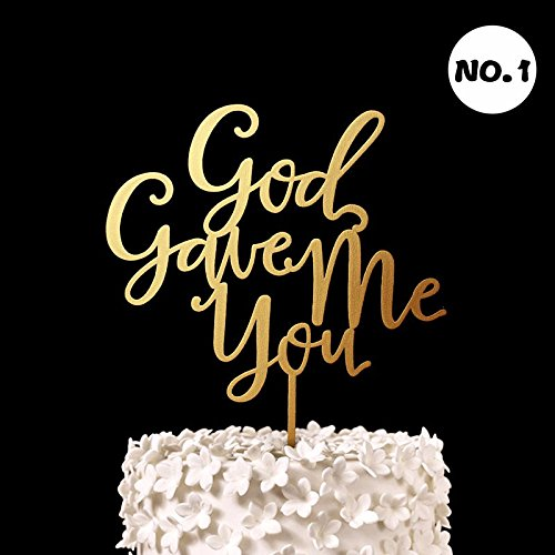 God Gave Me You Cake Topper Wood Rustic Wedding Decor Bridal Shower Gifts Engagement Party Cake Decorations Supplies 1 piece
