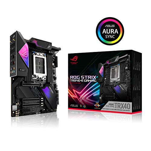 Asus ROG Strix TRX40-E Gaming AMD 3rd Gen AMD Ryzen Threadripper sTR4 ATX Motherboard with 16 Power Stages, Onboard WiFi 6 802.11Ax, 2.5Gbps, USB 3.2 Gen2, 3X M.2, OLED and Aura Sync RGB Lighting