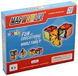 Magworld Best Deals - MagWorld Toys Magnetic Construction Rainbow Colors-20 Piece Set. Create 2D and 3D Shapes, Figures & Architecture. STEM Play Age 3 and Up.