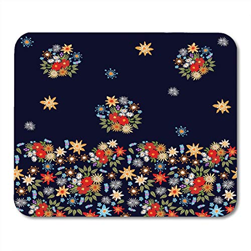 Mouse Pads Blue Bohemian Bright Floral Border Spanish Motifs Colorful Flowers on Green Artsy Mouse pad 9.8