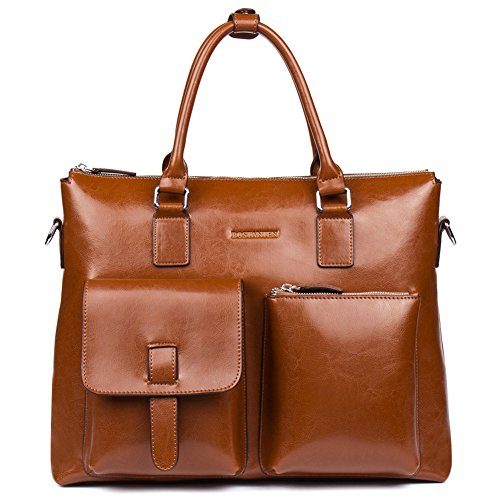 BOSTANTEN Leather Briefcase Laptop Business Vintage Slim Messenger Bags for Men & Women Brown