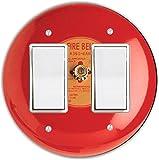 Rikki Knight Fire Alarm Design Round Double Rocker Light Switch Plate