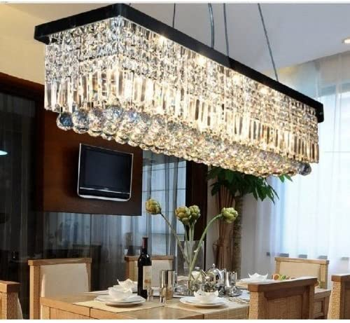 L48 X W10 X H10 Rectangle Clear K9 Crystal Ceiling Light Fixture Black Finish Modern Pendant Lighting