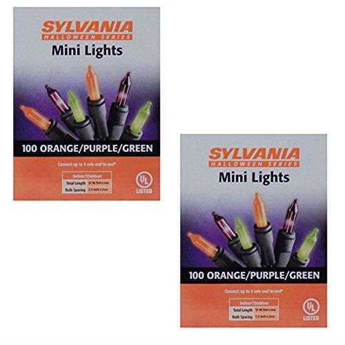 Sylvania Halloween Series Indoor/Outdoor Mini Lights - 100 Orange/Purple/Green (2 Pack)
