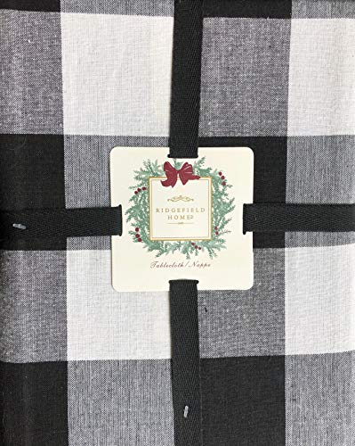Ridgefield Home Fabric Cotton Holiday Tablecloth Black Cream Wide Plaid Stripes, 60 Inches by 84 Inches (Dinnerware Seasonal)