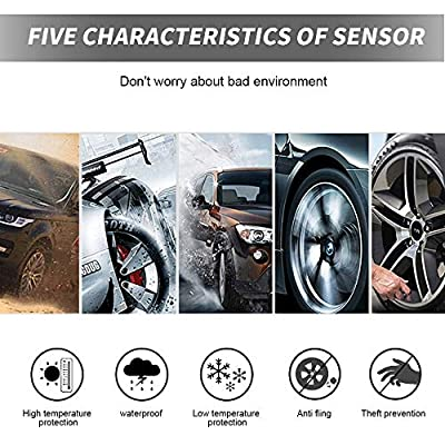 BARTUN TPMS Wireless Tire Pressure Monitoring System with 4pcs External Sensors (0-80 BAR/0-116 PSI) and 2A USB Charging Port, Temperature and Pressure LCD Display, Real-time Alarm Function: Automotive