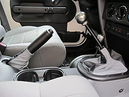 Medium Gray Leather-Black Thread RedlineGoods Shift Boot Compatible with Jeep Wrangler JK 2007-10