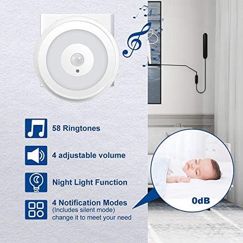 Yiroka wireless Door and Window Alarm Night Light Function 4 Volume Levels Home Security Burglar alarm with 58 Chimes 1 Plug-in Receivers /& 1 Magnetic Door Chime Sensor For Home Security