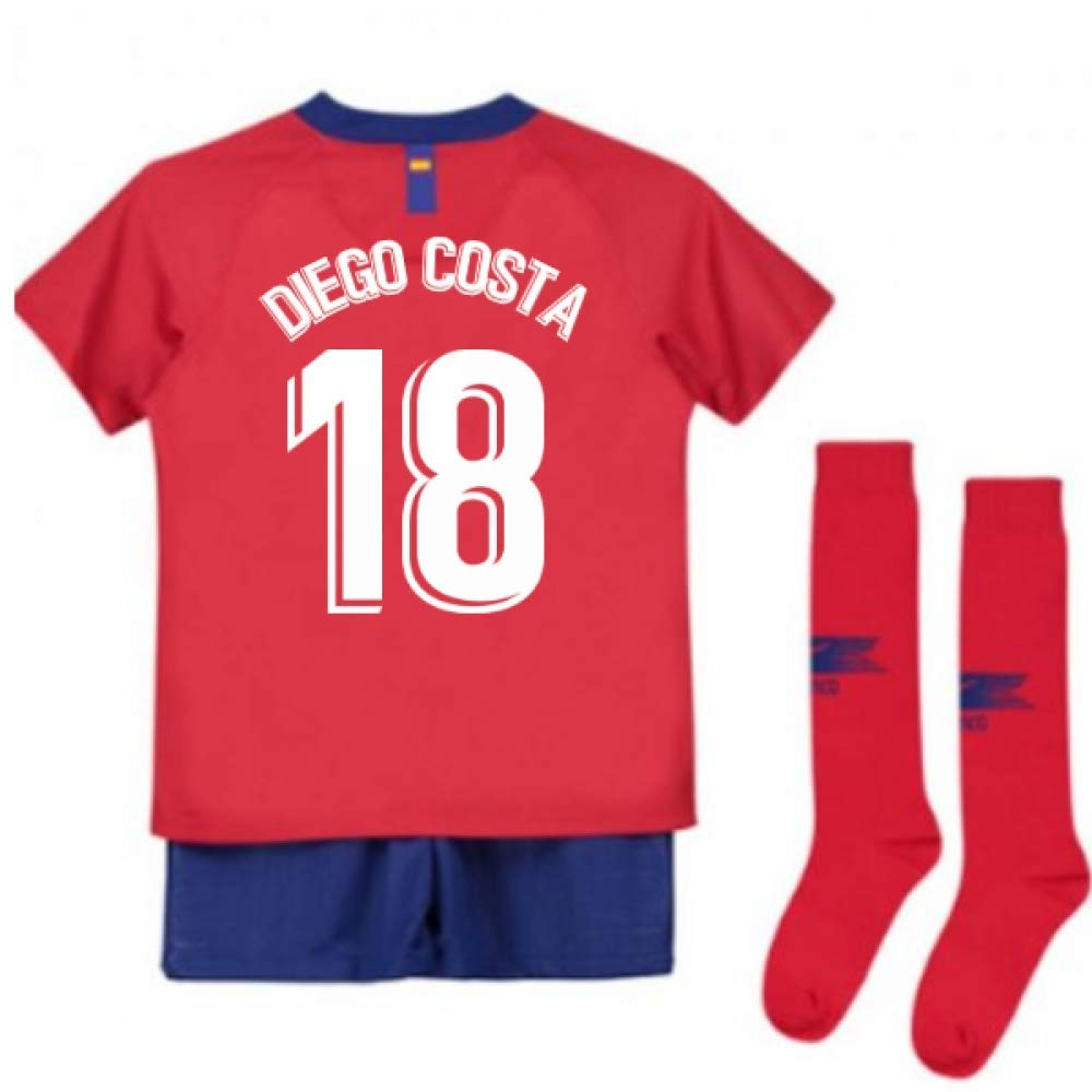 UKSoccershop 2018-2019 Atletico Madrid Home Nike Little Boys Mini Kit (Diego Costa 18)