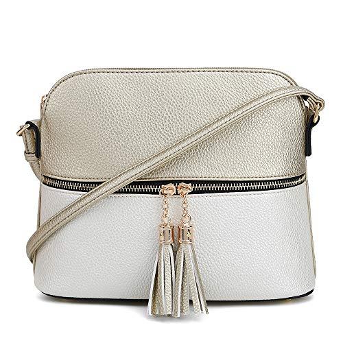 SG SUGU Lightweight Medium Dome Crossbody Bag with Tassel | Zipper Pocket | Adjustable Strap (Gold/Metallic Silver)