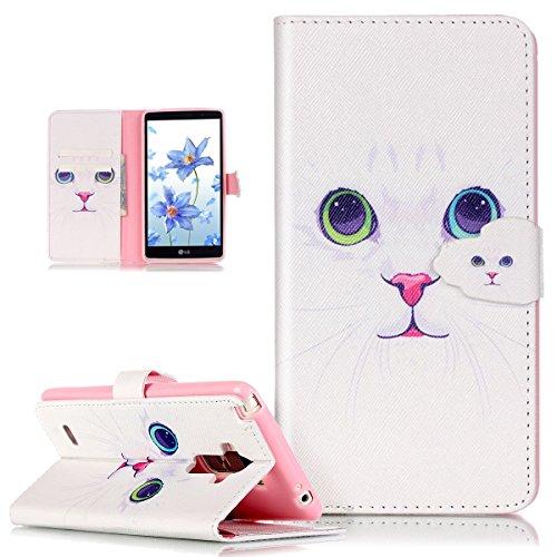 LG G Stylo Funda, LG G4Stylus, LG LS770Case, ikasus hermoso patrón Arte de Pintura de piel sintética Fold Funda Premium–Funda de piel con tapa con soporte Soportes de ID de tarjeta de crédito fund White Cat