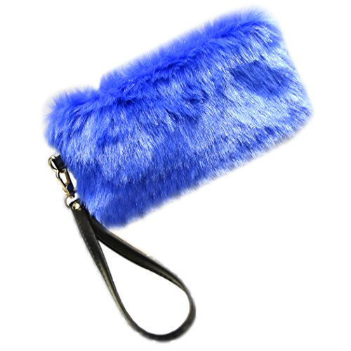 Bag Clutch Party Clutch Purse Dinner Fur Blue Faux Women Coafit 0xSqE1