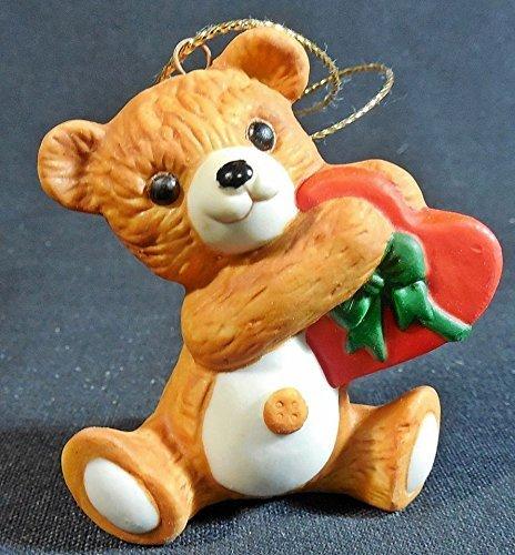 Hallmark Cinnamon Bear sixth in the collector's series- fine porcelain christmas ornament with a heart