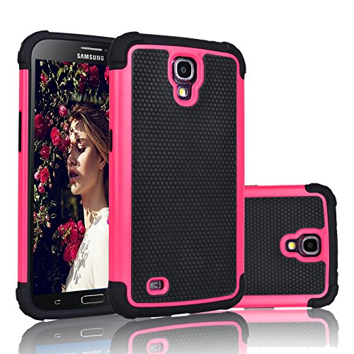 Galaxy Mega 6.3 Case, Njjex [Nveins] Shock Absorbing Hybrid Dual Layer Rubber Plastic Impact Armor Defender Bumper Rugged Hard Case Cover Shell For Samsung Galaxy Mega 6.3 i9200/i9205/i527 [Rose]