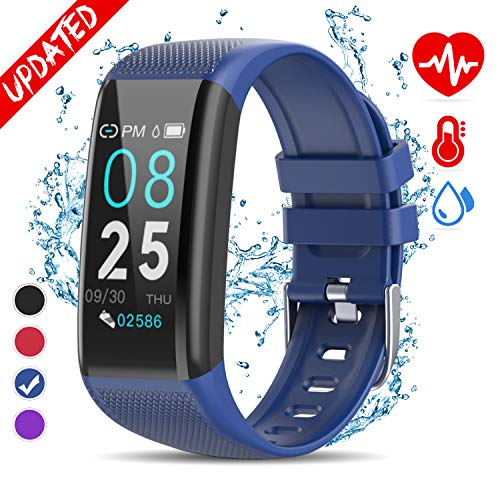 (Golden hour Fitness Tracker HR, Activity Tracker with Heart Rate Monitor, IP67 Waterproof Smart Bracelet with Step, Calorie Counter, Sleep Monitor, Pedometer, Health Watch for Men Women Kids-Blue)