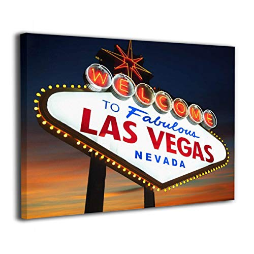 Harataki Welcome to Fabulous Las Vegas Nevada Sig Wall Art Painting On Canvas Stretched and Framed Canvas Paintings Ready to Hang for Home Decorations Wall Decor 16X20 Inch