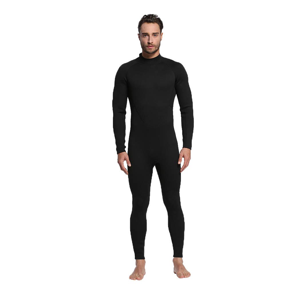Allywit Men 3MM Full Body Neoprene Wetsuit,Scuba Diving Thermal Wetsuit Diving Suit Swim Surf Snorkeling Swimming Jumpsuit Black