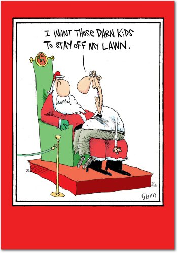 12 'Kids Off the Lawn' Boxed Christmas Cards with Envelopes 4.63 x 6.75 inch, Funny Christmas Cartoon Holiday Cards, Silly Santa Claus and Cranky Old Man Christmas Notes B5792 (Ideas Card Cartoon Christmas)