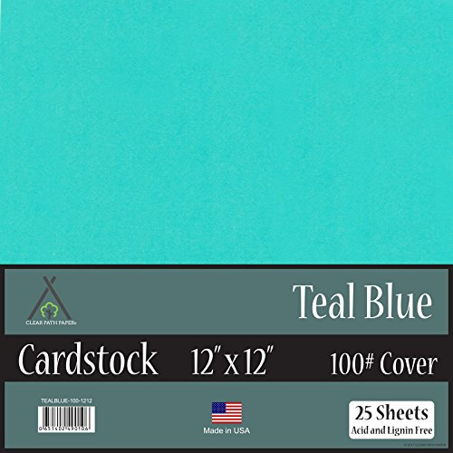 Teal Blue Cardstock - 12 x 12 inch - 100Lb Cover - 25 Sheets (Sheet 25 Cardstock Cardstock)