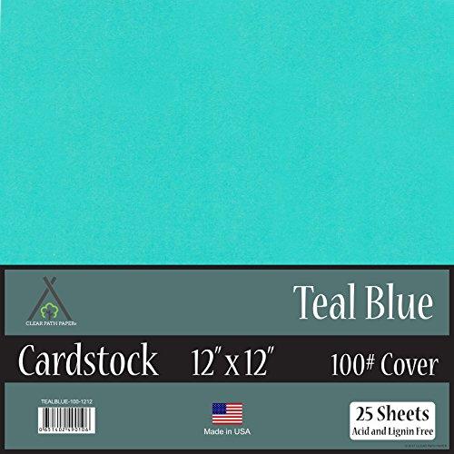 Teal Blue Cardstock - 12 x 12 inch - 100Lb Cover - 25 Sheets (Cardstock Sheet Cardstock 25)