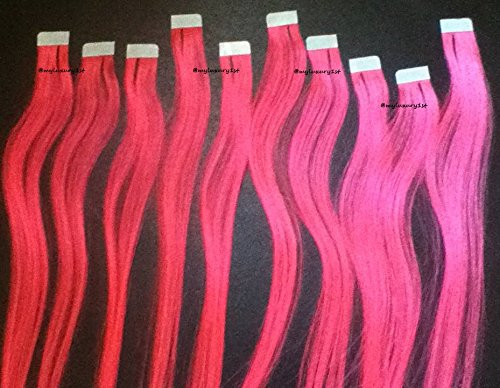 10 Pink Pieces Micro Mini Tape In Fusion Human Hair Extensions 18
