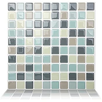 Fam Sticktiles Teal Arabesque Peel And Stick Tile For