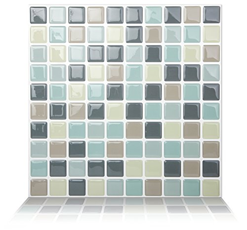 Decorative Tile Mosaic Cut - Tic Tac Tile Anti-Mold Peel and Stick Wall Tiles in Mosaic Mintgray (10 Tiles)