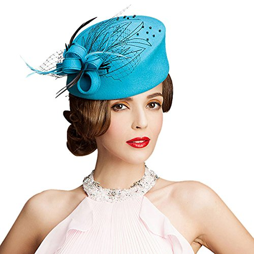 Embroidered Women Veil Formal Cocktail Race Felt Wool Pill Box Hat A140 (Blue) - Felt Pill Box