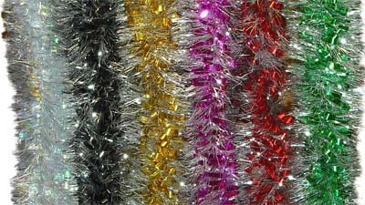 10 pack LUXURY TINSEL RED/SLIVER LOOPED 9CM 2.24M