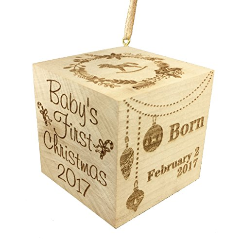 Custom Engraved BIG Baby's First Christmas Ornament 2017 Wood Baby Block (2.5)