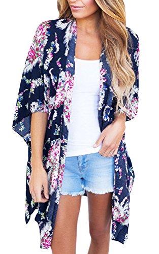 Kimono Pullover (Sisiyer Women's Casual Floral Print Chiffon Kimono Cardigan Blouse Beach Cover Up Swimwear Blue XX-Large)